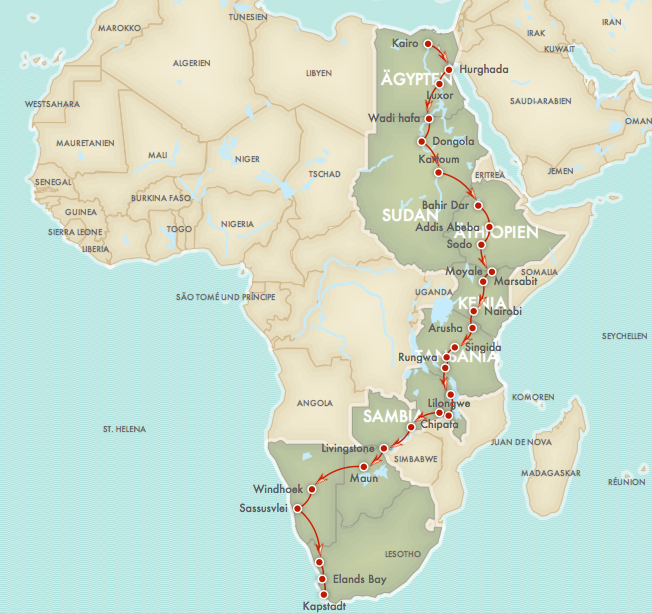Die Route | Von Kairo nach Kapstadt