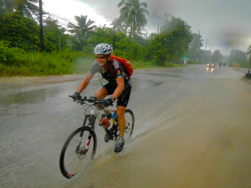 Gerhard riding the rain